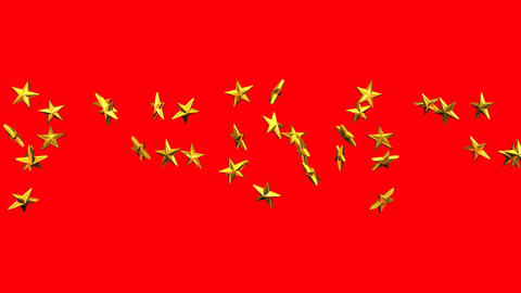 Gold Stars On Red Background, CG動画素材