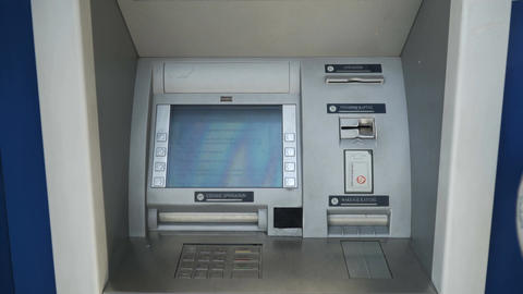 close view of a bank atm ビデオ