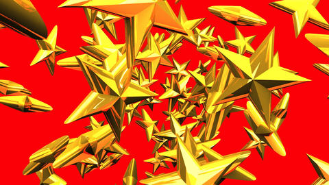 Gold Stars On Red Background Animation