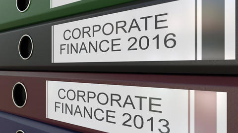 Office binders with Corporate finance tags different years Footage