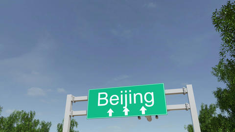 Airplane arriving to Beijing airport travelling to China Footage