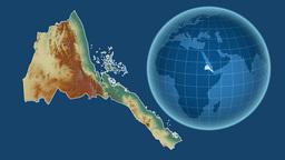 Eritrea and Globe. Relief Animation