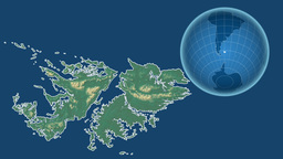 Falkland Islands and Globe. Relief Animation