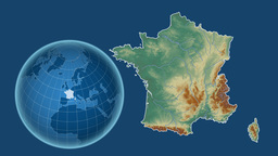 France and Globe. Relief Animation