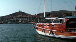 Turkey the Aegean Sea Bodrum 015 wooden sailing boat in old harbor Footage