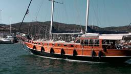 Turkey the Aegean Sea Bodrum 018 blue journey sailing boat in harbor Footage