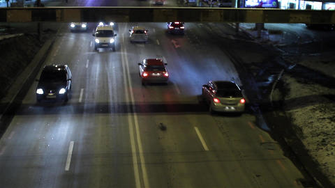 Car traffic in city at night unfolded 107 Footage