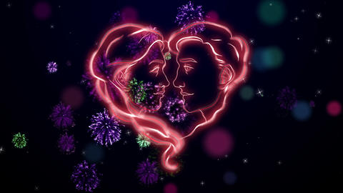 Two red faces on the Valentine celebration, dark blue bg, loop Animation