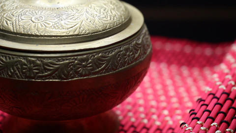 Gold Old Bowl Cup Chinese on a Red Mat Rotating