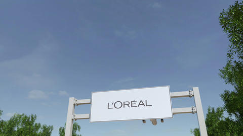Airplane flying over advertising billboard with L'Oreal logo. Editorial 3D Footage
