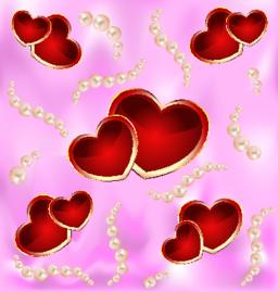 Background with hearts and pearls Vektor