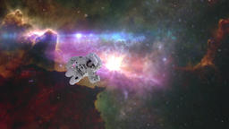 Astronaut in outer space against the backdrop of the nebulas Image