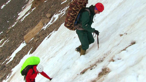 Climbers Goes On A Snowy Ridge Footage