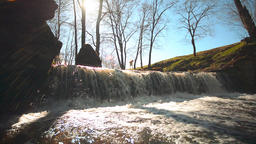 Waterfall in mountains. Spring nature landscape Footage