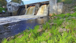 View of river and Hydroelectric Station. Slow motion footage Footage