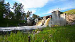 Slider/Dolly Shot of Waterfall and an Old Dam. Summer landscape Footage