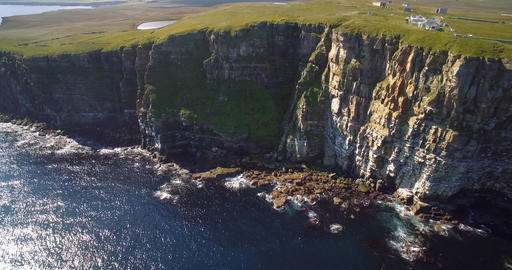 Aerial, Dunnet Head Coastline, Scotland - Graded Version Footage