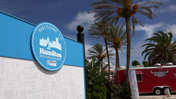 Bermuda Hamilton welcome sign at the ferry boat landing stage Footage