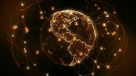Global network connections. Connecting people around the world. 4K Animation