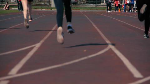 Athletics running in the stadium Footage