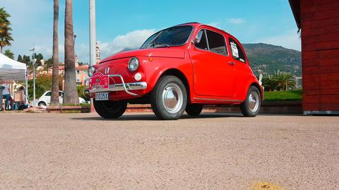 Vintage Red Fiat 500 L Footage