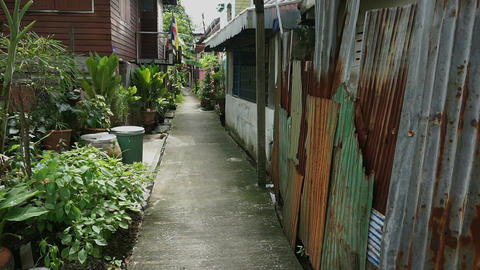Street at thai slum Footage