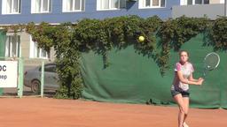 Orenburg, Russia - August 15, 2017 year: girl playing tennis 영상물