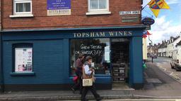 English wine shop in country town Topsham Devon UK Footage