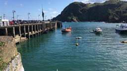 English lifeboat giving tourist a trip Ilfracombe Devon UK Footage