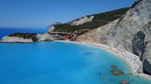 Fly over coast of Porto Katsiki in Lefkada, Greece Footage