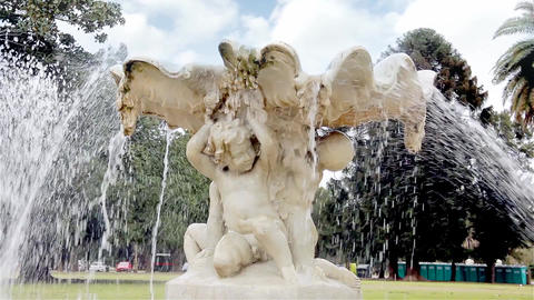 Sculpture In Fountain Footage