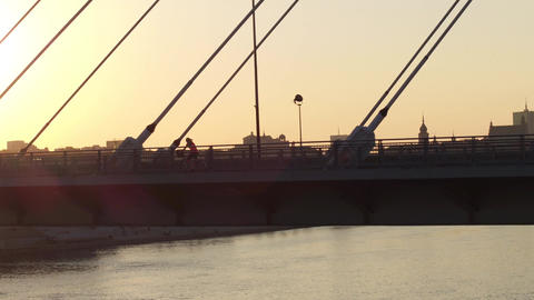 Aerial shot of cyclists and cars moving along modern guyed bridge over the Footage