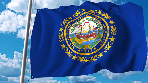 Waving flag of New Hampshire Footage