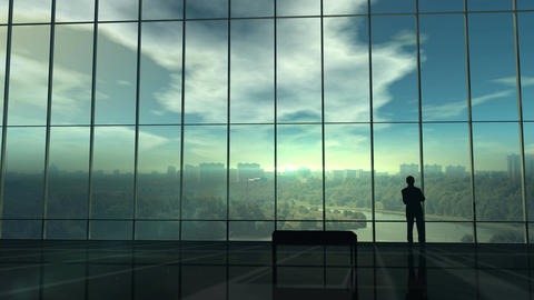 Silhouette of a businessman against the huge office window Animation