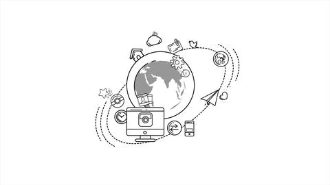 Global Digital World Infographic With Alpha Channel Stock Video Footage