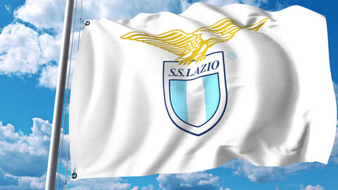 Waving flag with Lazio football club logo. 4K editorial clip Footage