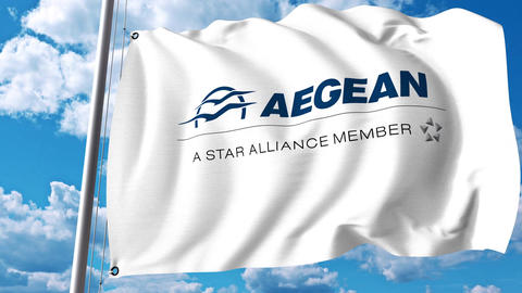 Waving flag with Aegean Airlines logo. 4K editorial clip Archivo