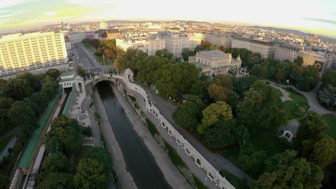 Aerial view. Vein. Vienna. Wien. City center. Old city. Austria. 4K Footage
