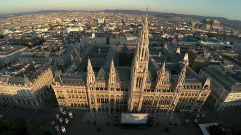 Aerial view. Vein. Vienna. Wien. Vienna City Hall. Rathaus. Austria. 4K Footage