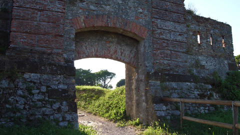 Old ruined fortress wall and gate in Palmanova, Italy Footage