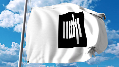 Waving flag with Massachusetts Institute of Technology MIT emblem. 4K editorial Footage