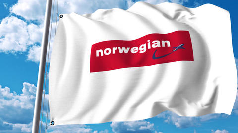 Waving flag with Norwegian Air Shuttle logo. 4K editorial clip Footage