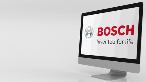 Modern computer screen with Bosch logo. 4K editorial clip Live Action