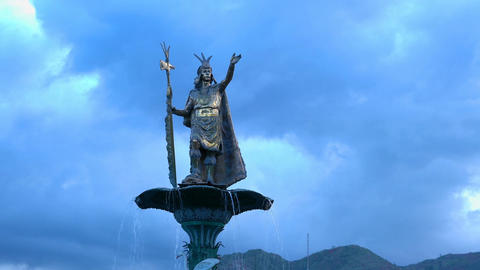 Statue of Pachacuti at the Plaza de Armas in Cusco Footage