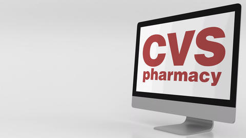 Modern computer screen with CVS Pharmacy logo. 4K editorial clip Footage