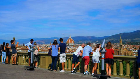 Tourists admire the panorama of Florence Footage