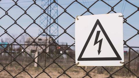 High - voltage substation. Warning sign of danger. Electric shock. Electrical GIF