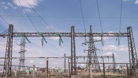 High-voltage electricity distribution substation. Energy industry. Wires on Footage