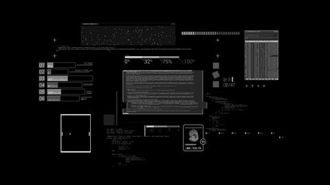 Hacker textures, elements of code and interface Footage
