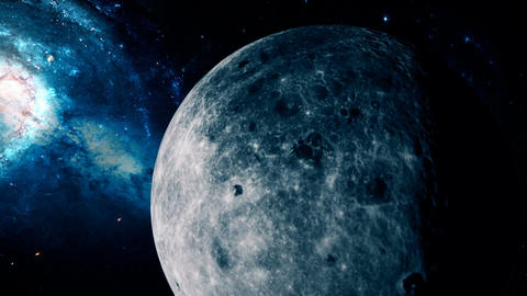 Realistic beautiful Moon from deep space Stock Video Footage